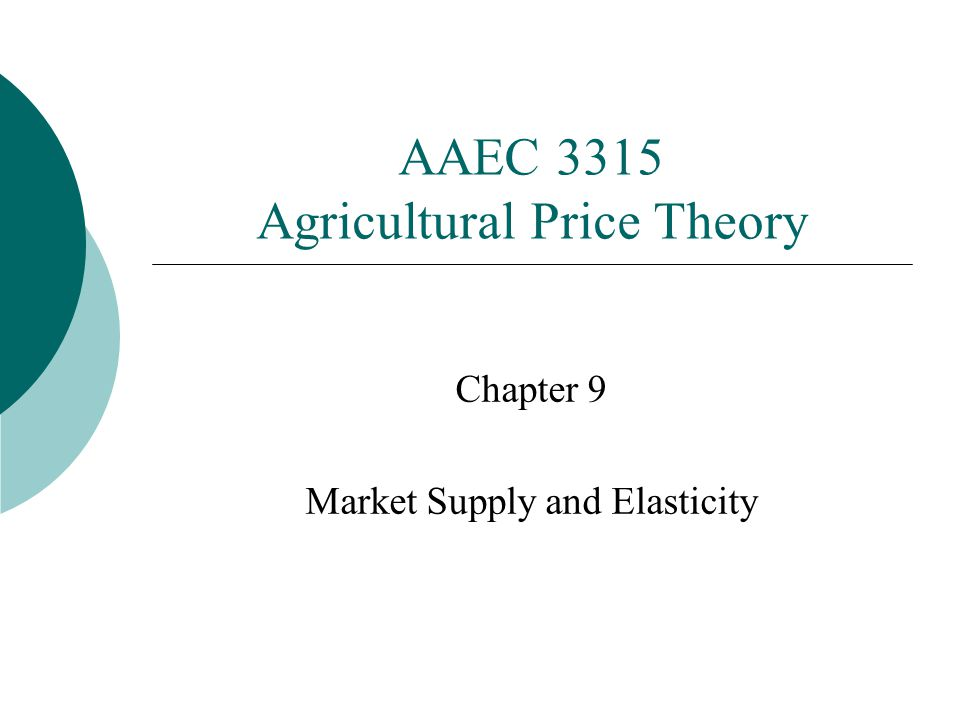 AAEC 3315 Agricultural Price Theory Chapter 9 Market Supply and Elasticity