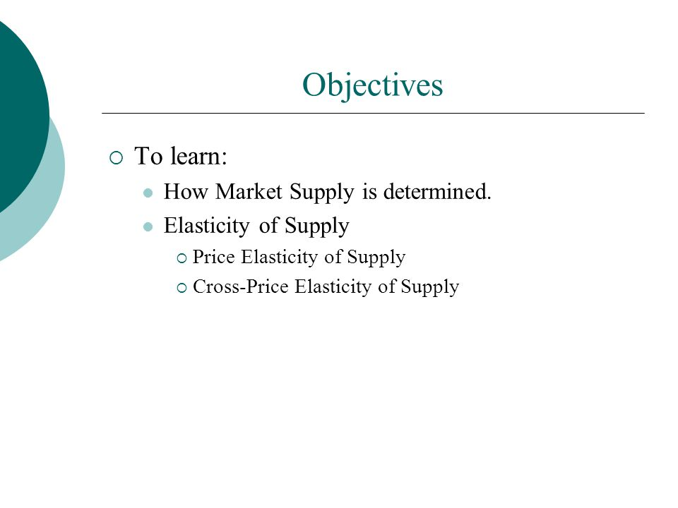 Objectives To learn: How Market Supply is determined.