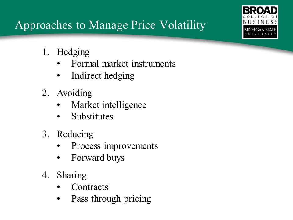 Approaches to Manage Price Volatility 1.Hedging Formal market instruments Indirect hedging 2.Avoiding Market intelligence Substitutes 3.Reducing Process improvements Forward buys 4.Sharing Contracts Pass through pricing