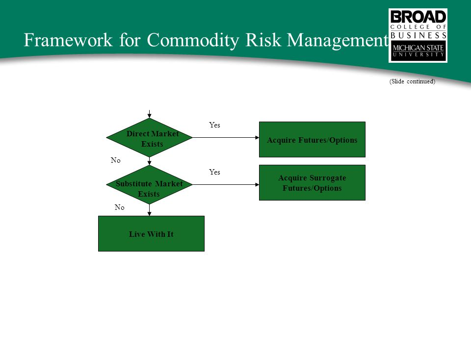 Framework for Commodity Risk Management Live With It Acquire Surrogate Futures/Options Acquire Futures/Options Direct Market Exists Yes No Substitute Market Exists (Slide continued)