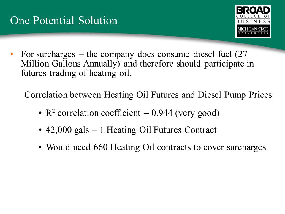 One Potential Solution For surcharges – the company does consume diesel fuel (27 Million Gallons Annually) and therefore should participate in futures trading of heating oil.