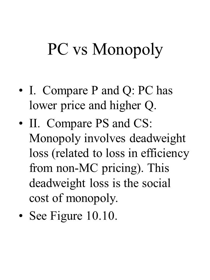 PC vs Monopoly I. Compare P and Q: PC has lower price and higher Q.