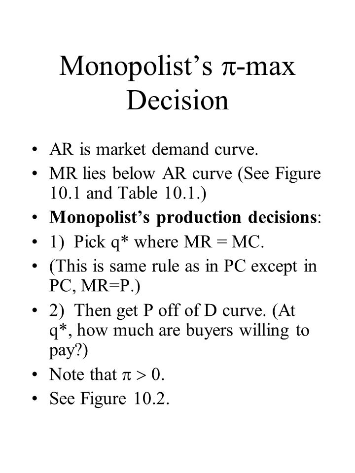 Monopolists -max Decision AR is market demand curve.
