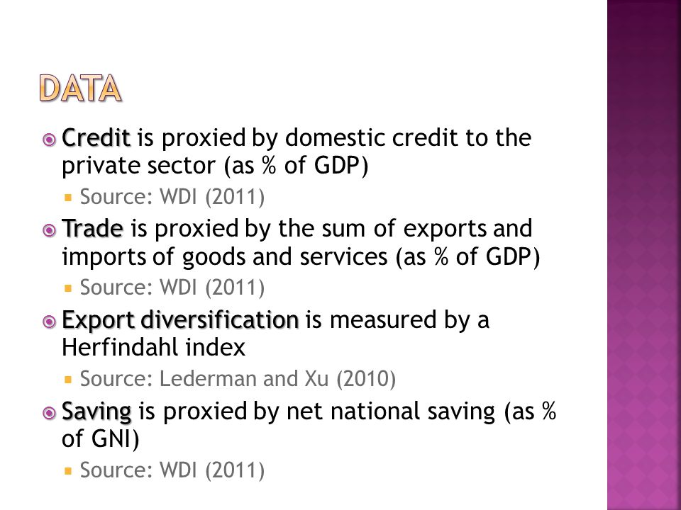 Credit Credit is proxied by domestic credit to the private sector (as % of GDP) Source: WDI (2011) Trade Trade is proxied by the sum of exports and imports of goods and services (as % of GDP) Source: WDI (2011) Export diversification Export diversification is measured by a Herfindahl index Source: Lederman and Xu (2010) Saving Saving is proxied by net national saving (as % of GNI) Source: WDI (2011)