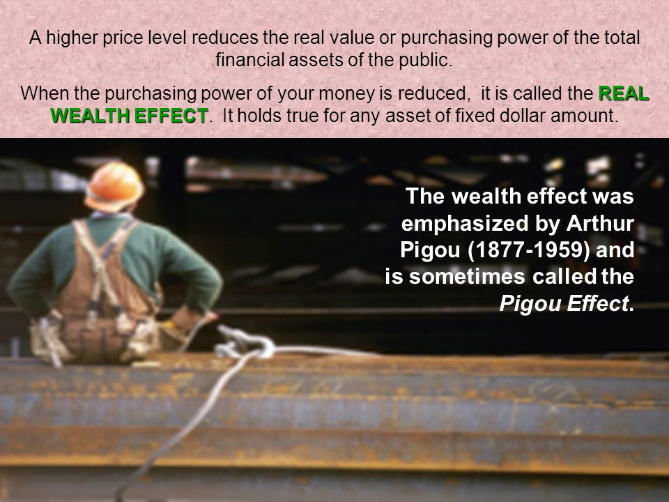 A higher price level reduces the real value or purchasing power of the total financial assets of the public.