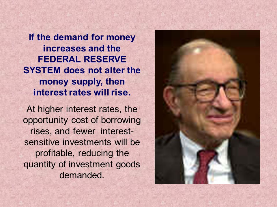 If the demand for money increases and the FEDERAL RESERVE SYSTEM does not alter the money supply, then interest rates will rise.