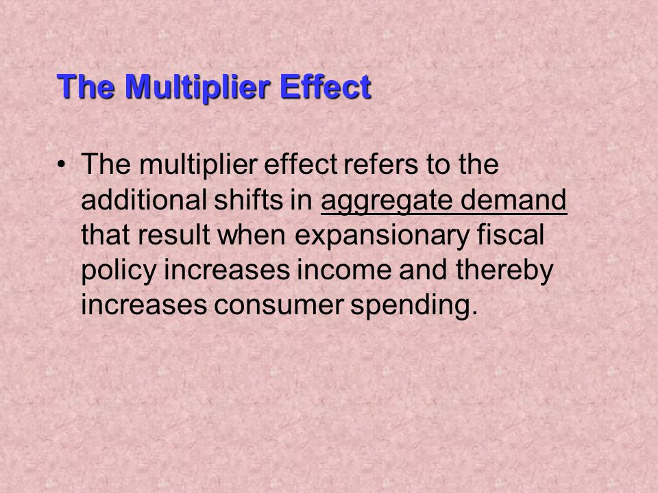The Multiplier Effect The multiplier effect refers to the additional shifts in aggregate demand that result when expansionary fiscal policy increases income and thereby increases consumer spending.