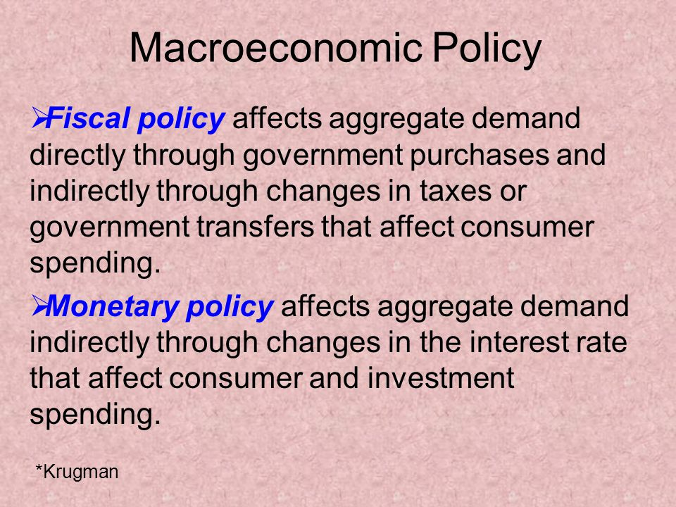 Macroeconomic Policy Fiscal policy affects aggregate demand directly through government purchases and indirectly through changes in taxes or government transfers that affect consumer spending.