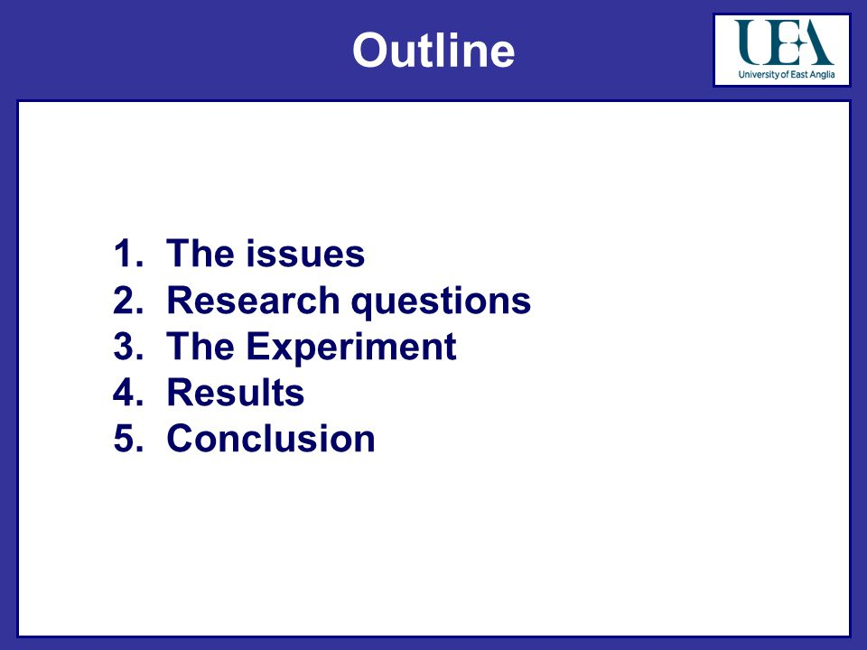 Outline 1. The issues 2. Research questions 3. The Experiment 4. Results 5. Conclusion
