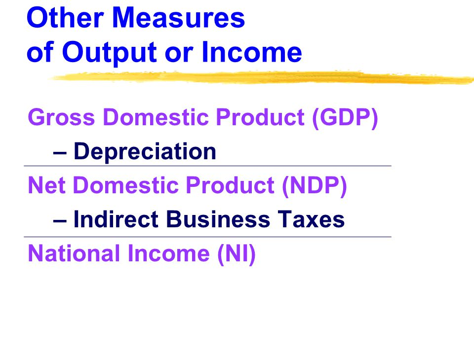 Other Measures of Output or Income Gross Domestic Product (GDP) – Depreciation Net Domestic Product (NDP) – Indirect Business Taxes National Income (NI)