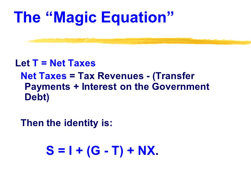 The Magic Equation Let T = Net Taxes Net Taxes = Tax Revenues - (Transfer Payments + Interest on the Government Debt) Then the identity is: S = I + (G - T) + NX.