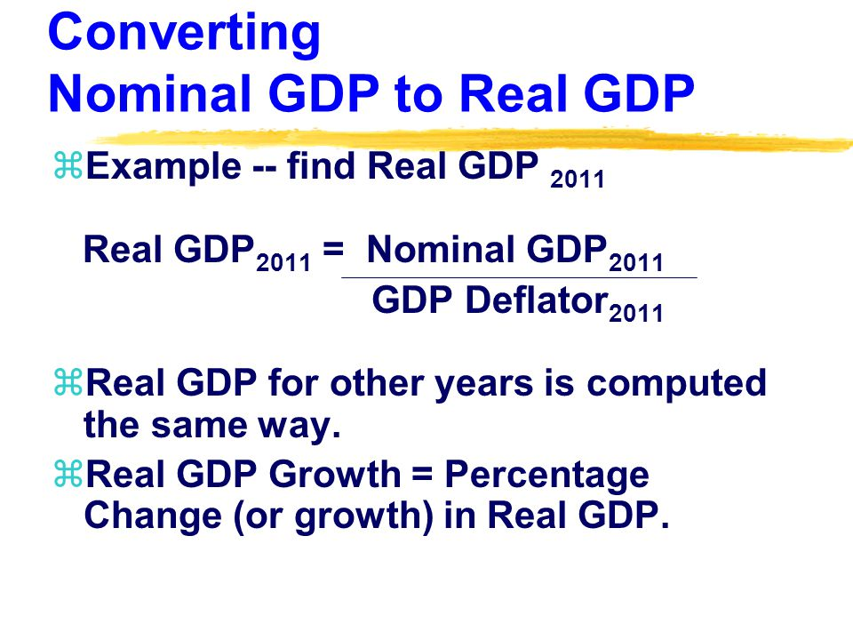Converting Nominal GDP to Real GDP zExample -- find Real GDP 2011 Real GDP 2011 = Nominal GDP 2011 GDP Deflator 2011 zReal GDP for other years is computed the same way.