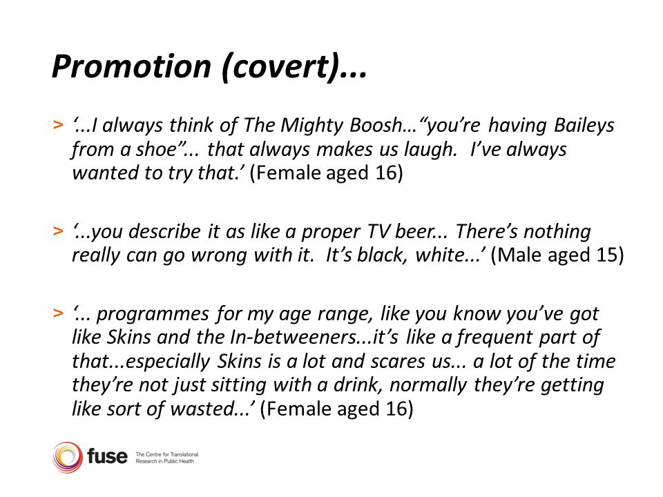 Promotion (covert)... >...I always think of The Mighty Boosh…youre having Baileys from a shoe...