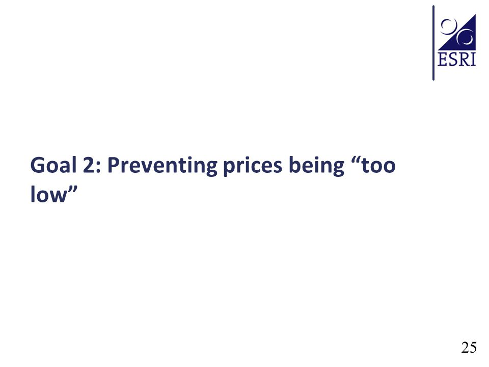 Goal 2: Preventing prices being too low 25