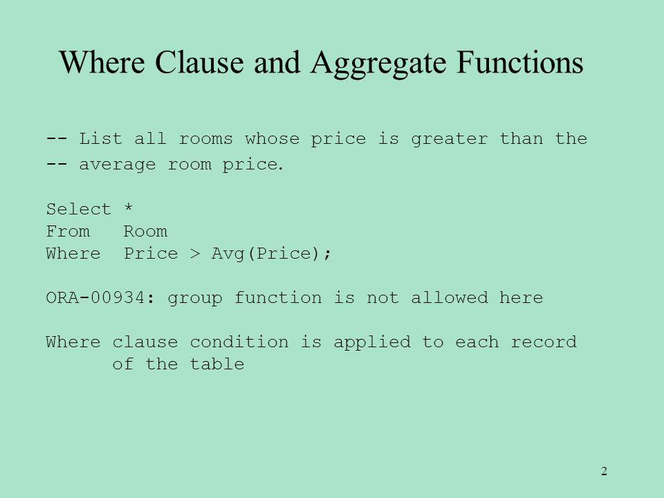 Where Clause and Aggregate Functions -- List all rooms whose price is greater than the -- average room price.