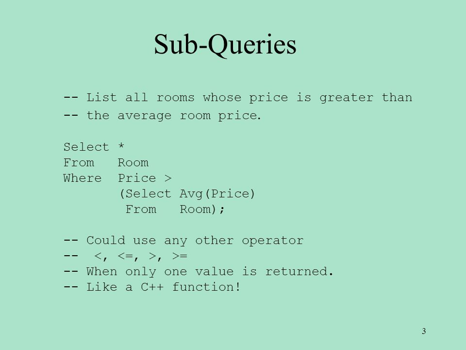 Sub-Queries -- List all rooms whose price is greater than -- the average room price.