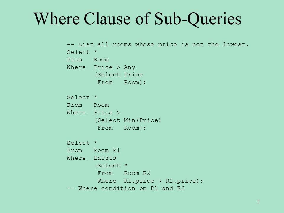 Where Clause of Sub-Queries -- List all rooms whose price is not the lowest.