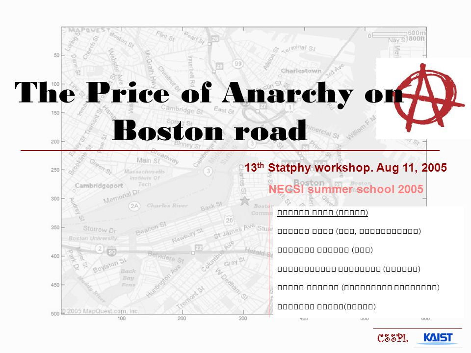The Price of Anarchy on Boston road 13 th Statphy workshop.