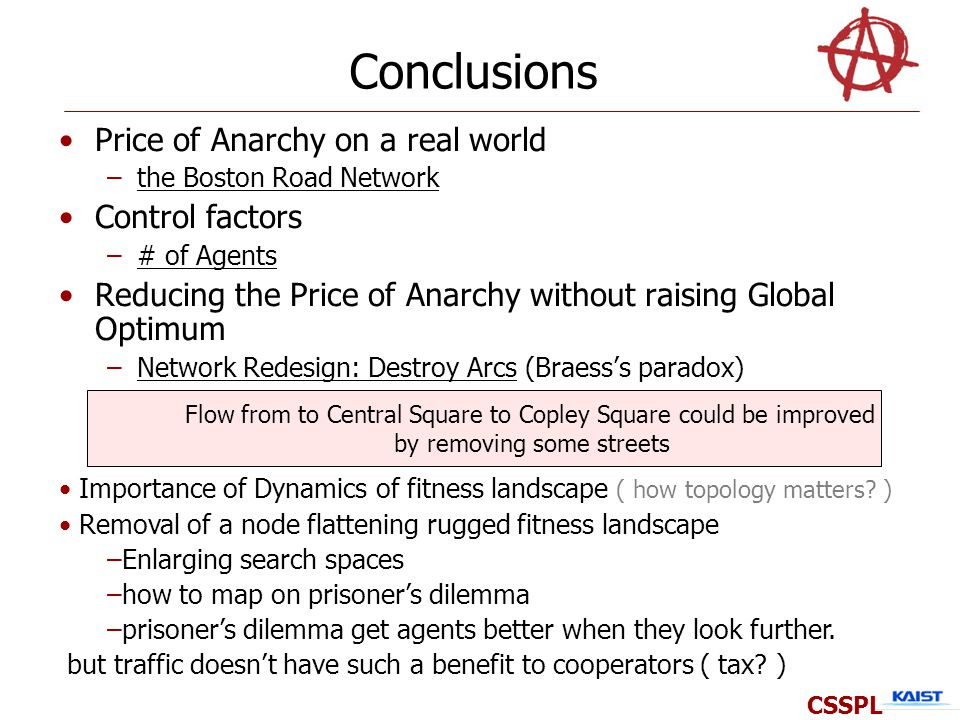 Conclusions Price of Anarchy on a real world –the Boston Road Network Control factors –# of Agents Reducing the Price of Anarchy without raising Global Optimum –Network Redesign: Destroy Arcs (Braesss paradox) CSSPL Flow from to Central Square to Copley Square could be improved by removing some streets Importance of Dynamics of fitness landscape ( how topology matters.