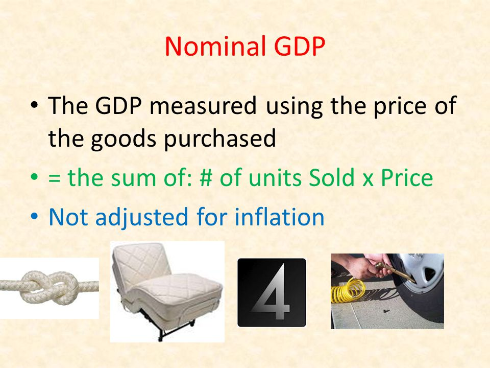 Nominal GDP The GDP measured using the price of the goods purchased = the sum of: # of units Sold x Price Not adjusted for inflation