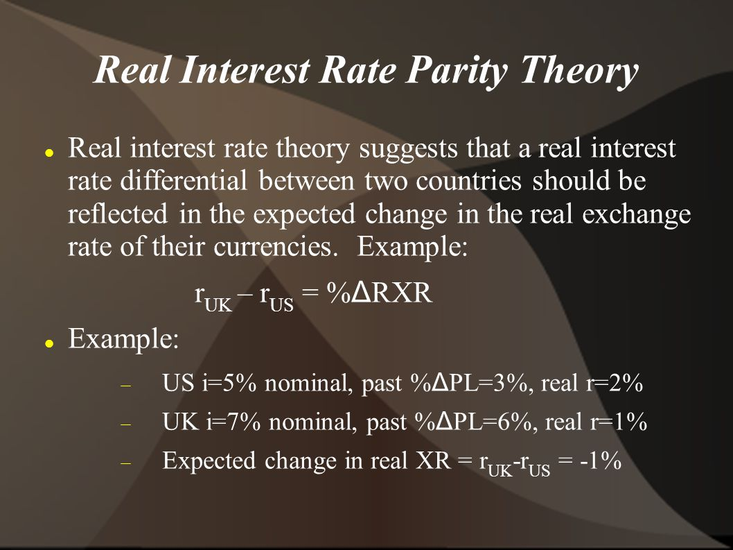 Real Interest Rate Parity Theory Real interest rate theory suggests that a real interest rate differential between two countries should be reflected in the expected change in the real exchange rate of their currencies.
