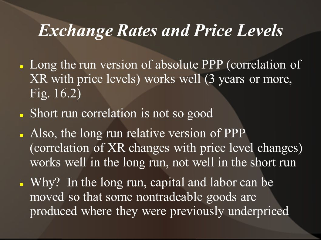 Exchange Rates and Price Levels Long the run version of absolute PPP (correlation of XR with price levels) works well (3 years or more, Fig.