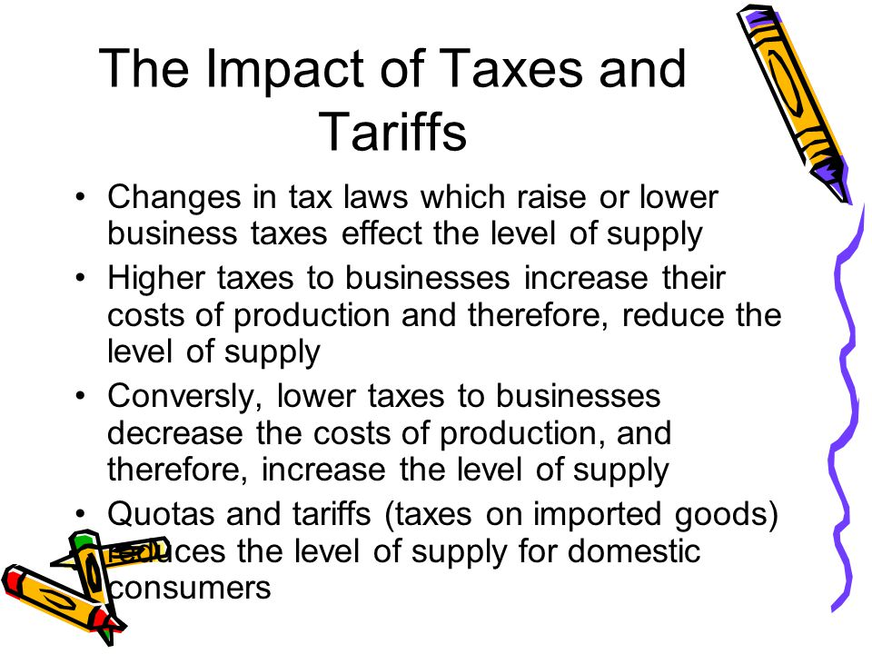 The Impact of Taxes and Tariffs Changes in tax laws which raise or lower business taxes effect the level of supply Higher taxes to businesses increase their costs of production and therefore, reduce the level of supply Conversly, lower taxes to businesses decrease the costs of production, and therefore, increase the level of supply Quotas and tariffs (taxes on imported goods) reduces the level of supply for domestic consumers