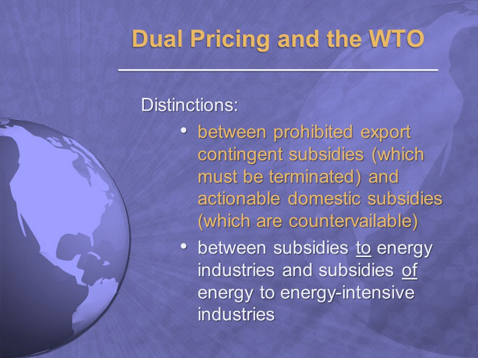 Distinctions: between prohibited export contingent subsidies (which must be terminated) and actionable domestic subsidies (which are countervailable) between prohibited export contingent subsidies (which must be terminated) and actionable domestic subsidies (which are countervailable) between subsidies to energy industries and subsidies of energy to energy-intensive industries between subsidies to energy industries and subsidies of energy to energy-intensive industries