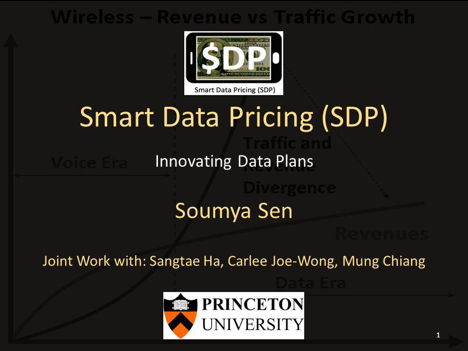 Smart Data Pricing (SDP) Soumya Sen Joint Work with: Sangtae Ha, Carlee Joe-Wong, Mung Chiang Innovating Data Plans Soumya Sen, WITE 20121
