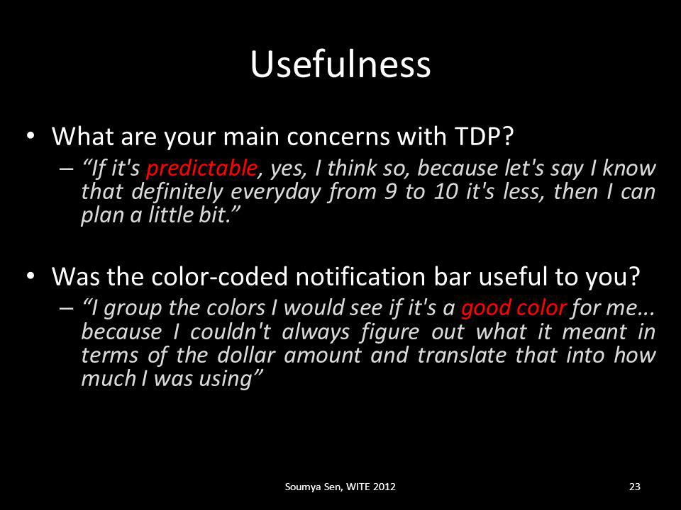 Usefulness What are your main concerns with TDP.