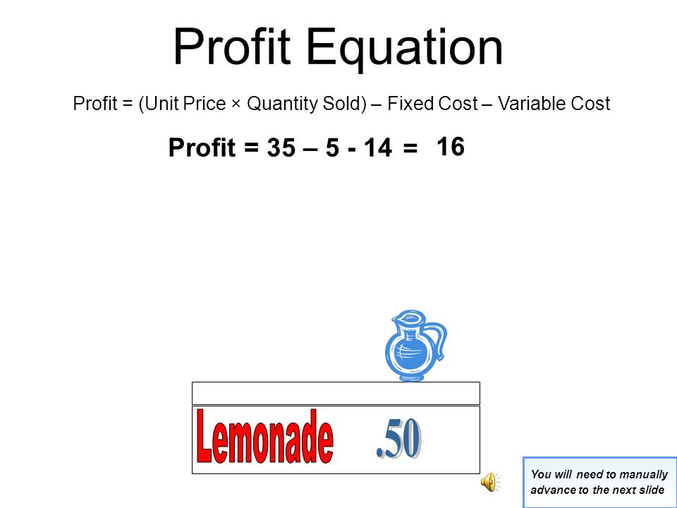 Profit Equation Profit = (Unit Price × Quantity Sold) – Fixed Cost – Variable Cost Profit = (.50 x 70) – 5 - 14 You will need to manually advance to the next slide