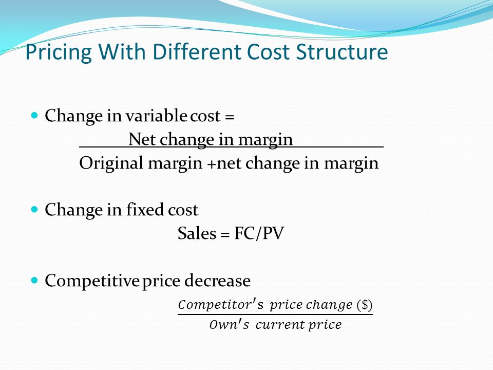 Pricing With Different Cost Structure