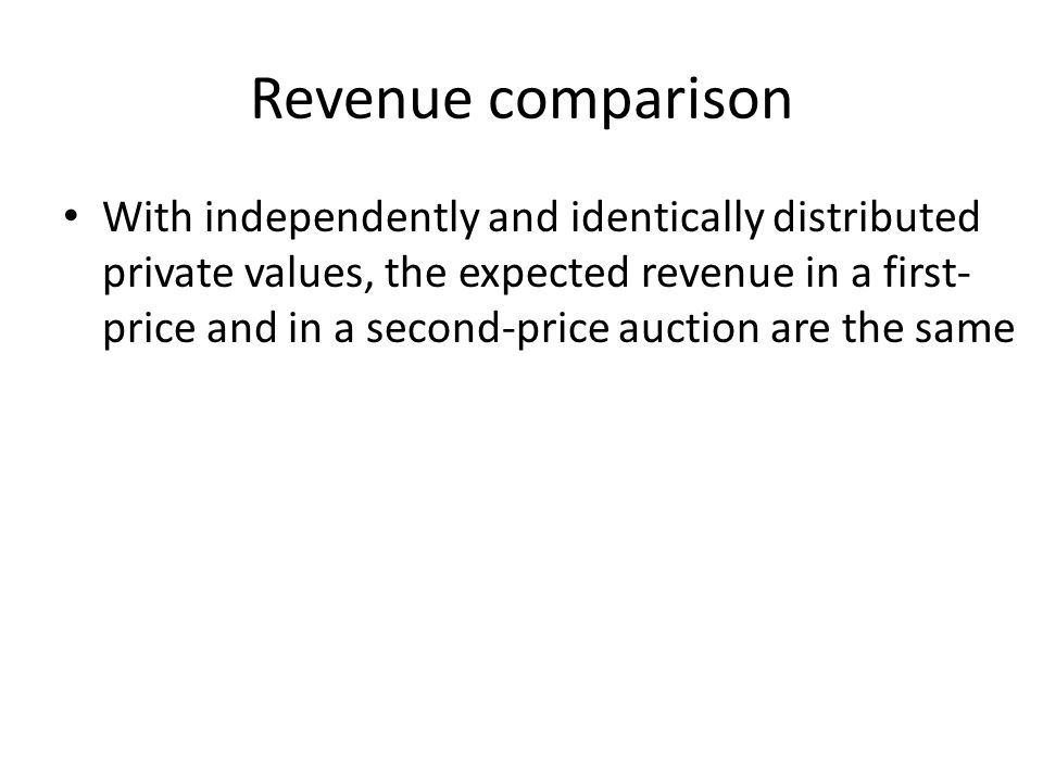 Revenue comparison With independently and identically distributed private values, the expected revenue in a first- price and in a second-price auction are the same