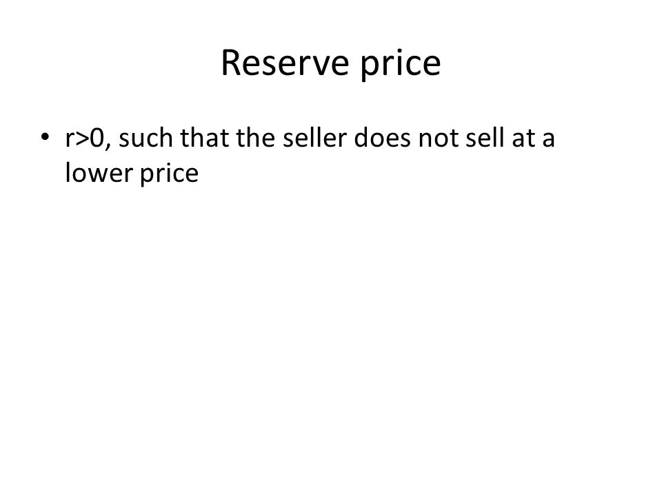 Reserve price r>0, such that the seller does not sell at a lower price
