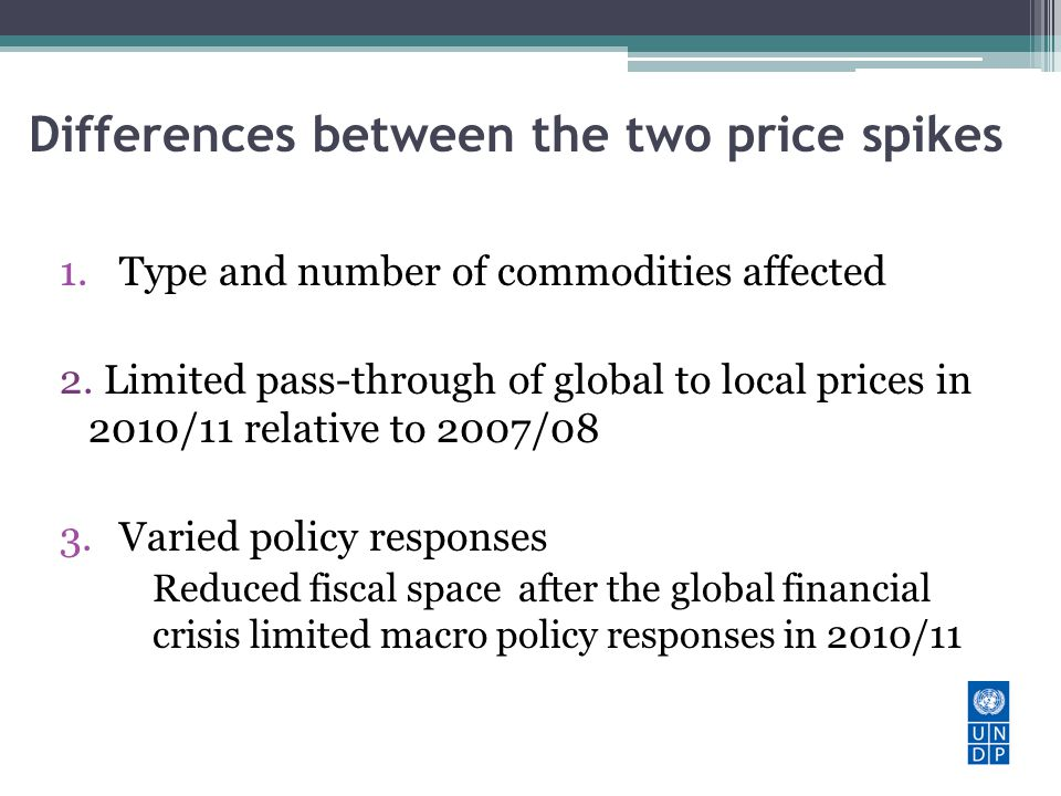 Differences between the two price spikes 1.Type and number of commodities affected 2.