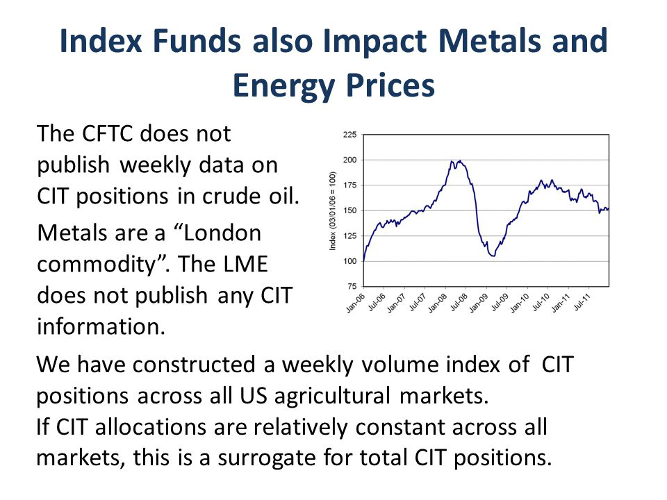 Index Funds also Impact Metals and Energy Prices The CFTC does not publish weekly data on CIT positions in crude oil.