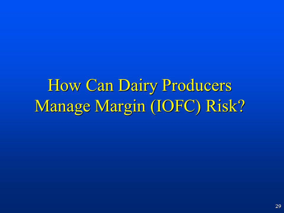 29 How Can Dairy Producers Manage Margin (IOFC) Risk