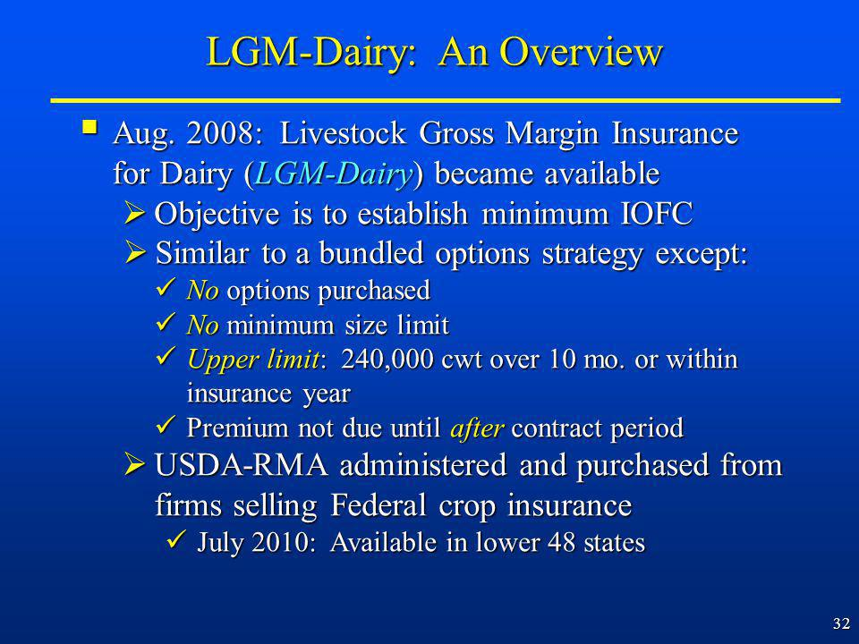 32 Aug. 2008: Livestock Gross Margin Insurance for Dairy (LGM-Dairy) became available Aug.