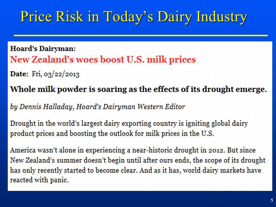 5 Price Risk in Todays Dairy Industry