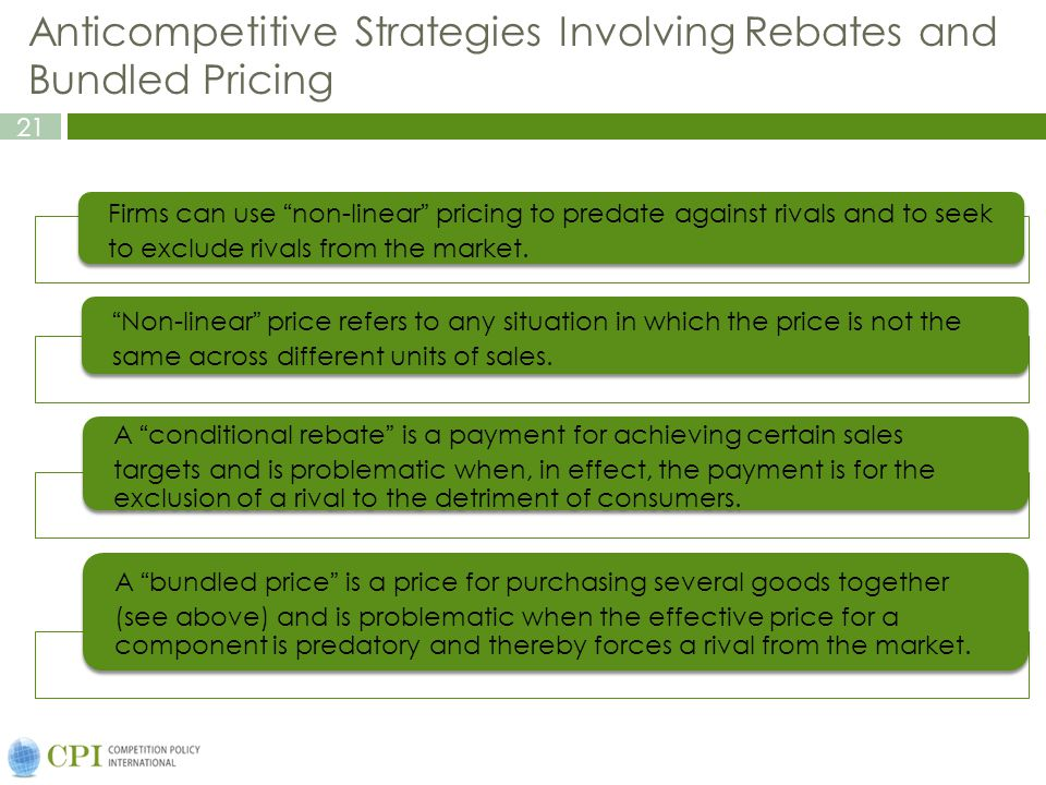 21 Anticompetitive Strategies Involving Rebates and Bundled Pricing Firms can use non-linear pricing to predate against rivals and to seek to exclude rivals from the market.