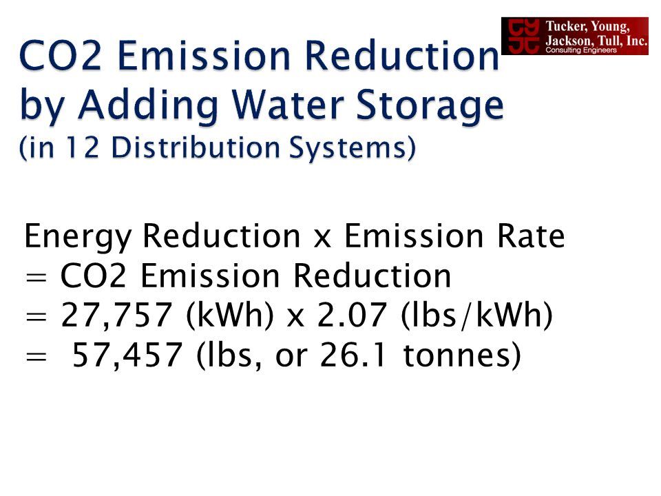 Energy Reduction x Emission Rate = CO2 Emission Reduction = 27,757 (kWh) x 2.07 (lbs/kWh) = 57,457 (lbs, or 26.1 tonnes)