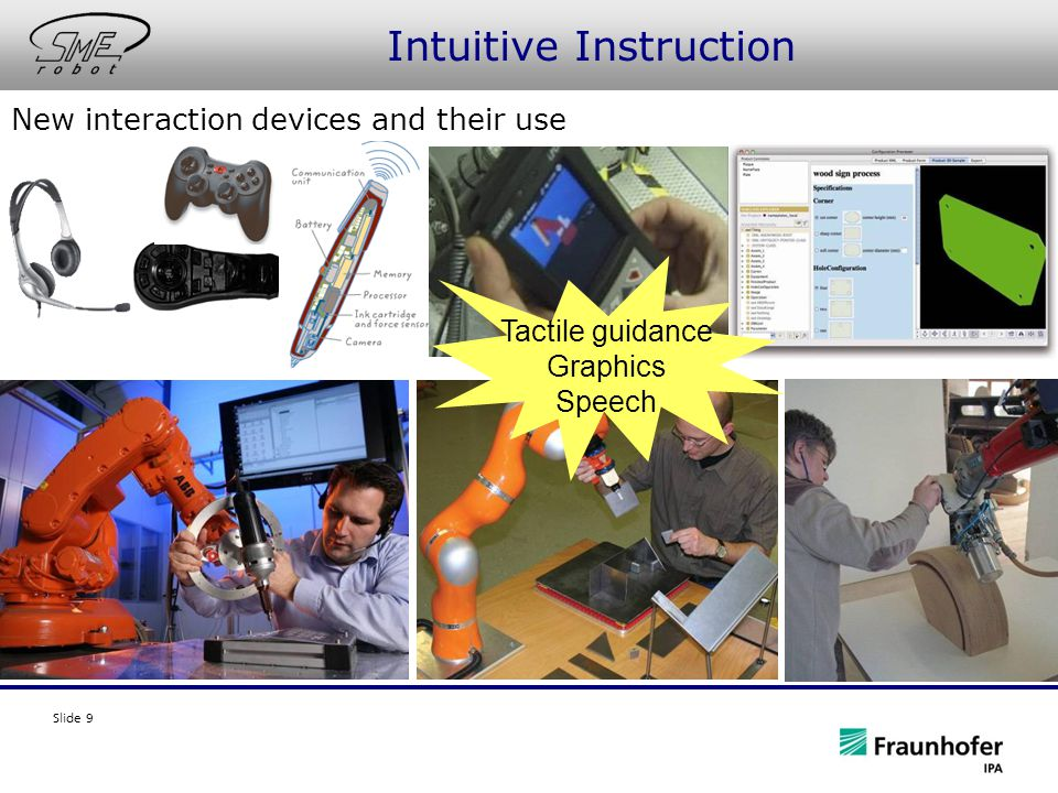Slide 9 Intuitive Instruction New interaction devices and their use Tactile guidance Graphics Speech