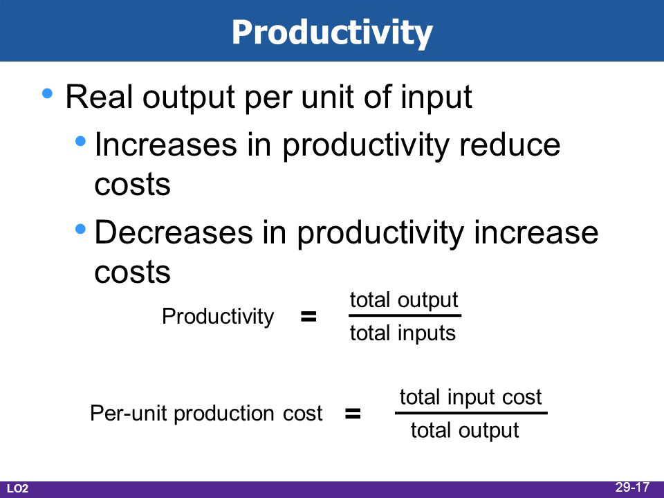 Productivity Real output per unit of input Increases in productivity reduce costs Decreases in productivity increase costs LO2 Per-unit production cost = total input cost total output Productivity = total output total inputs 29-17