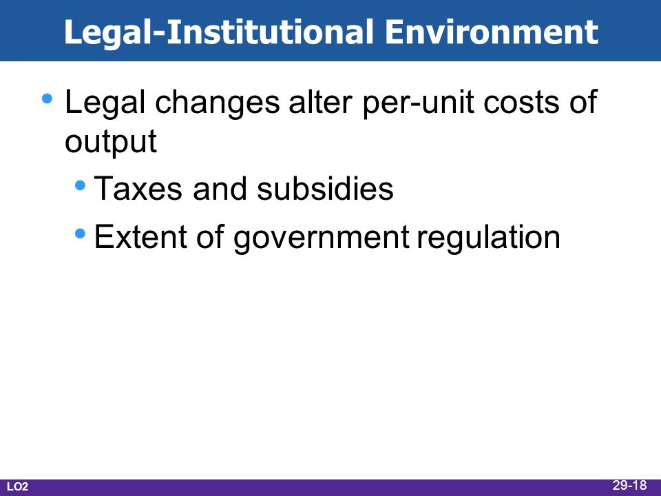 Legal-Institutional Environment Legal changes alter per-unit costs of output Taxes and subsidies Extent of government regulation LO