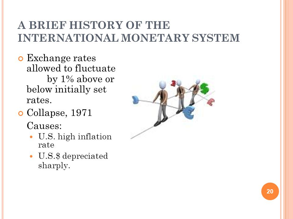 A BRIEF HISTORY OF THE INTERNATIONAL MONETARY SYSTEM 20 Exchange rates allowed to fluctuate by 1% above or below initially set rates.