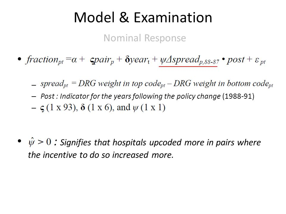 Model & Examination Nominal Response – – Post : Indicator for the years following the policy change (1988-91) – : Signifies that hospitals upcoded more in pairs where the incentive to do so increased more.