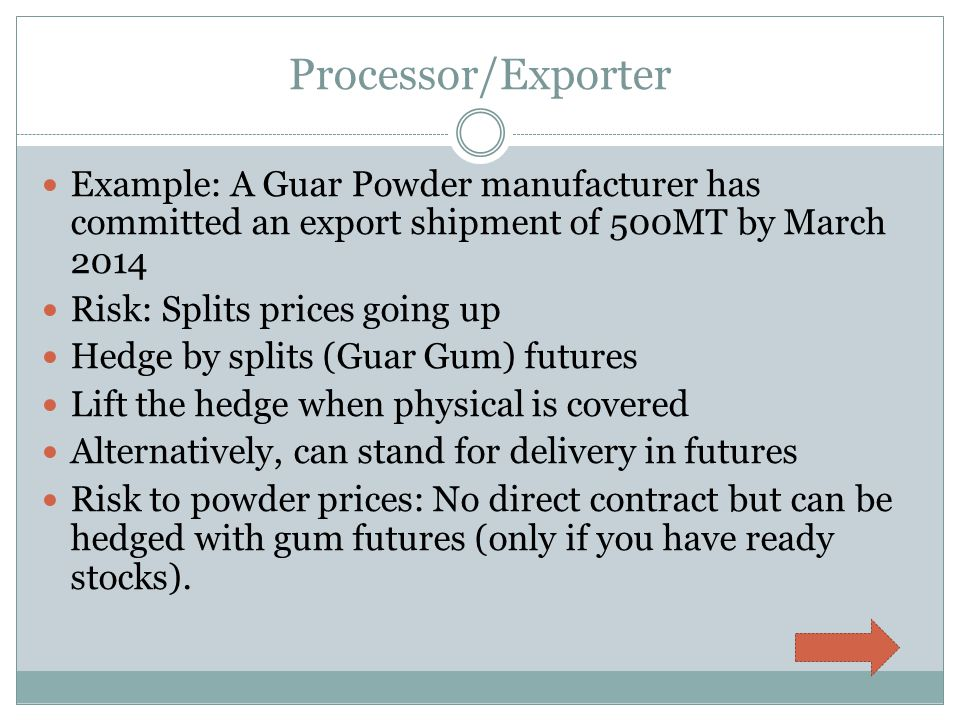 Processor/Exporter Example: A Guar Powder manufacturer has committed an export shipment of 500MT by March 2014 Risk: Splits prices going up Hedge by splits (Guar Gum) futures Lift the hedge when physical is covered Alternatively, can stand for delivery in futures Risk to powder prices: No direct contract but can be hedged with gum futures (only if you have ready stocks).