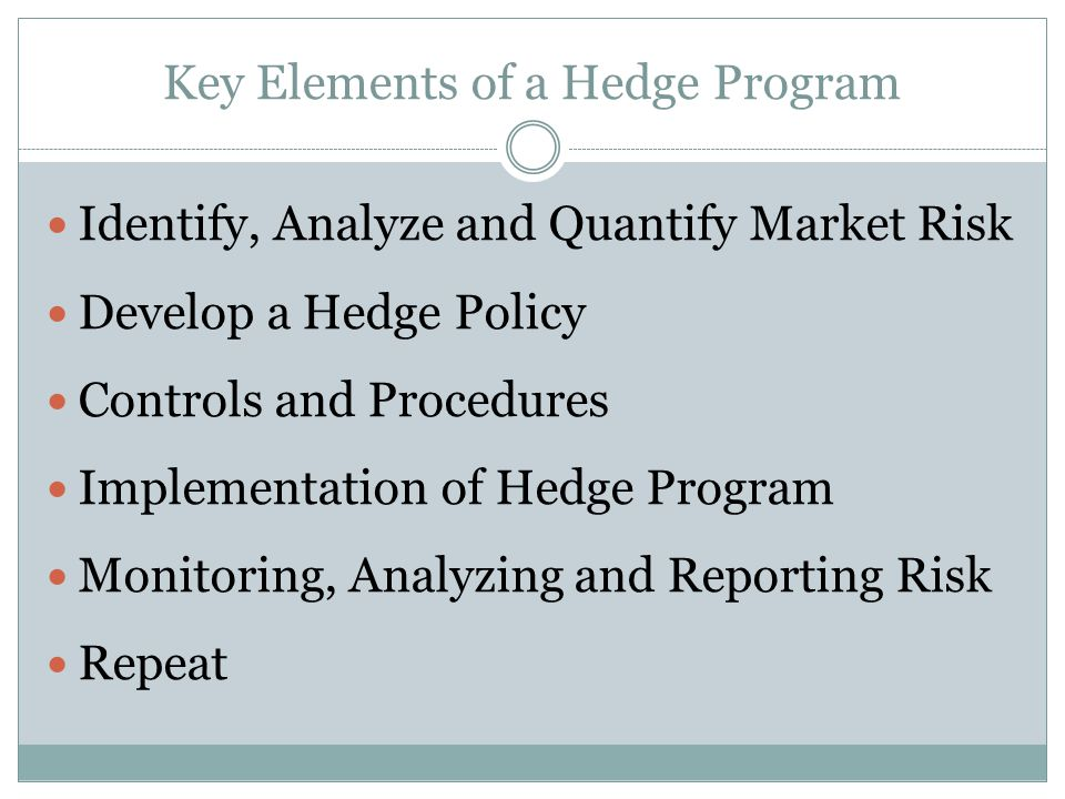 Key Elements of a Hedge Program Identify, Analyze and Quantify Market Risk Develop a Hedge Policy Controls and Procedures Implementation of Hedge Program Monitoring, Analyzing and Reporting Risk Repeat