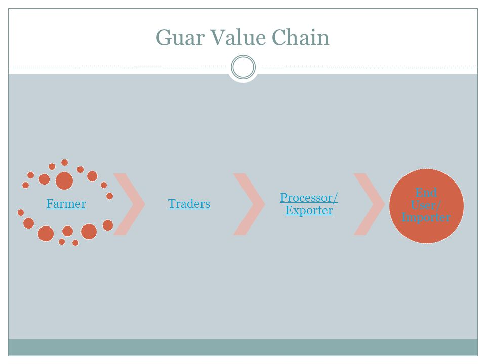 Guar Value Chain Farmer Traders Processor/ Exporter End User/ Importer