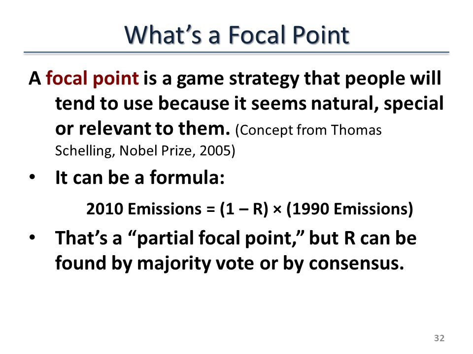 Whats a Focal Point A focal point is a game strategy that people will tend to use because it seems natural, special or relevant to them.